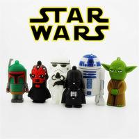 1pcs/lot, Silicone Cartoon Star Wars Darth Maul Yoda Darth Vader R2 D2 u disk 1-32gb usb flash drive memory stick Pen drive gift