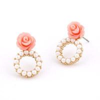 Korea Fashion Resin Rose Flower Stud Earring Women Metal Circle Pearl Earring