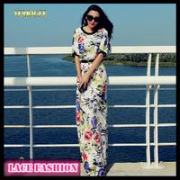 Women lace maxi dresses long 2014 spring slim floral casual vestidos half-sleeve floor-length new arrival fashion elegant