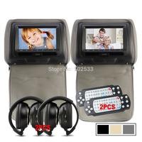 1Pair 7 Inch HD LCD Monitor Headrest Car  DVD Player MP3 USB SD 800X480 + Free Wireless Headphone + game handles - Gray