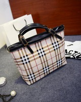 2014 new European and American fashion trend handbag canvas shoulder bag Plaid Messenger Bag laptop handbags wholesale
