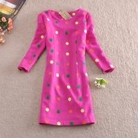 Free shipping Wholesale 2014 autumn new elegant ladies waist embroidery dot sleeve dress women