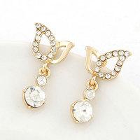 Korea Fashion Sweet Gold Silver Bling Crystal Wing Earring For Women