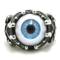 New!!  Free Shipping Eyeball Skull Ring Stainless Steel High Quality Men Boy Fashion Blue Eyeball Ring