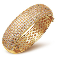New Fashion Luxury Punk Chunky Women's Bangles Gold Plated Pave Setting Crytal AAA Cubic Zirconia Stones Chunky Bangle For Women