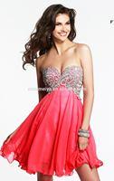 OEC446 SexyEmbroidered Rhinestone Empire Red Chiffon Birthday Party Dress Evening Party Dress