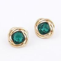 Korea Fashion Gold Metal Female Green Pink Stone Earring