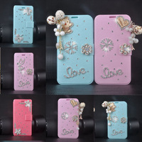Fashion Bling Diamond Leather rice With Stand Wallet Luxury Case For xiaomi mi 3 m3