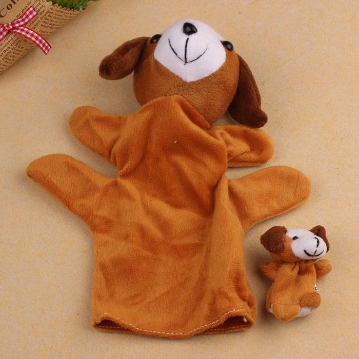 2Pcs Dog Soft Animal Finger Puppet Baby Infant Kid Toy Plush Toys Free shipping &wholesale(China (Mainland))