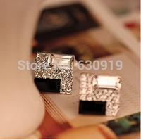 Elegant OL Rinestone Square Luxury Stud Earrings free shipping