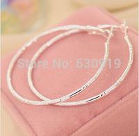 silver earrings sterling silver fashion jewelry earrings beautiful earrings Round section prismatic Hoop - Large