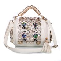 Fashion New Korean Style Design Leather Cylindrical Buttons Women Messenger Tote Bags Women Handbag Women Clutch Bag