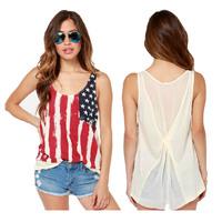 Fashion American Flag Women T Shirt Camisole Chiffon High Quality Women Tops 2014 Summer Clothes  Sleeve Less Women