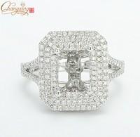 7x9mm Emerald 14K White Gold Natural Pave Set Diamond Semi Mount Setting Ring Free Shipping