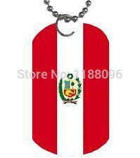 costumized dog tags Wholesale 2014 hot sales Peru Flag Dog Tag Necklace & Pendant hl80798(China (Mainland))