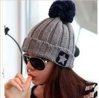 New 2014 Women's Hats Pentagram Spell Color Wool Hat Pompons Cute Knitted Caps Warm Beanie Casual Winter Cap Women Beanies