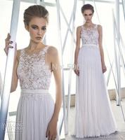 2014 Glamorous Design Jewel Neckline Appliqued Beaded Sash Wedding Bridal Dresses