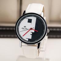 Free Shipping,Famous Brand Fashion Cartoon Profile Character Design Quartz Watches,Unisex Men Women Leather Strap Dress Watches
