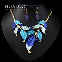New Arrival Fashion Exaggerate Multicolor Rhinestone Leaves Shape Wedding Jewelry Sets For Women  #N10001