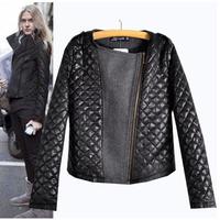 2014 Fashion Autumn Winter Wool Pu Leather Patchwork Slim Jacket PU Leather Motorcycle Women's Jackets Women Coat AS1422