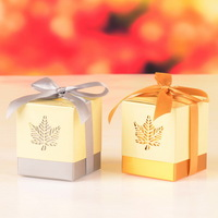 5*5*6cm Maple Leaf Wedding Paper Box For Candy Box Party Chocolate Boxes Packaging For Gifting Laser Cut Box Free Shipping
