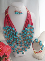 Free Shipping!  Turquoise croal necklace bracelet earring MN-2473