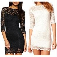 2014 new plus size women clothing Bodycon peplum flower lace dress slash o-neck sexy evening mini dress black