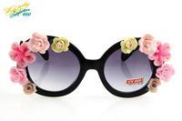 2014 red flower sunglasses women brand designer black lenses fashion UV protection Aviator round eye sun glasses 8226