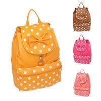 Women Girl PU Leather Polka Dot Backpack School Bag Bowknot Rucksack Satchel