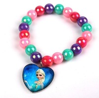 Mix Colors Candy Acrylic Beads Chain Frozen Elsa Anna Charm Bracelet Stretch Girls Party Jewelry Gift