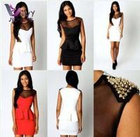 Summer dress 2014 desigual party evening elegant rivets slim fit bodycon adventure time vestidos casual free shipping W231