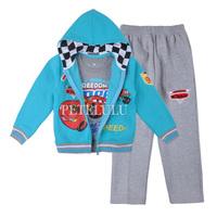 2014 New 100% Cotton Baby boys Girls Clothing Set 3pcs:hoodies coats+long sleeve t-shirt+pants suit children winter Outfits