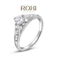 ROXI 2014 Women's Rings Austrian Crystals Fashion white golden High Quality Nice Wedding Rings 190 Free Shipping