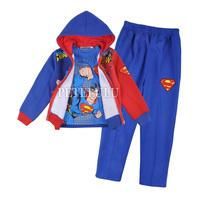 2014 new Baby boy 3pcs suit set winter clothing sets 100%cotton kids hoody jacket + long sleeve shirts+ pants suits 2 colors