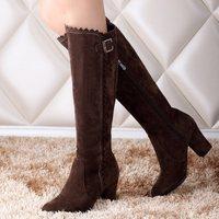 Big size 32-48 New Autumn winter boots Women boots Zapatos women Buckle Flower Zipper Flock Warm Fashion Sexy Hot sale QH3276