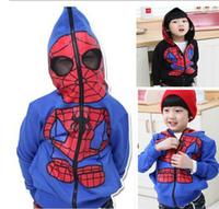 Boys Jacket Hooded Children's Spiderman Blue Novelty Coat 2014 Fashion Long Sleeve Spring Clothing For Boys