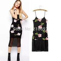 2014 New Fashion women sexy elegant Black gauze splicing sleeveless dress Lady brand design Package buttocks gallus dresses#E780