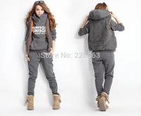 Women Autumn fashion hoodies suit thickening leisure sports Sweatshirt (hoody,panty,vest) 3pcs sets, warm Jacket coat A 2014 New