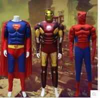 3pcs/lot suprhero costumes adult size superman ironman spiderman halloween costume