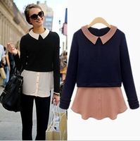 Explosion models in Europe and America 2014 new fall fashion stitching fake piece big shirt collar long-sleeved T doll
