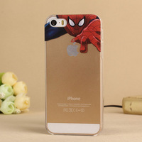 Spider-Man And Stitch Case Delicate Cute Cartoon Characters Back Skin Hollow Out Frosted Matte Case For iphone 5/5s(PG004)