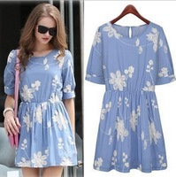2014 European Style Women Summer Dress Printing Cute O-Neck Half  Sleeve Mini Pinched Waist Woman Slim Clothes CL1894