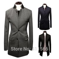 Free Shipping 2014 Fashion Men's Double Collar Business Casual Slim Suits Jackets Korean Dress Blazers Coats Outwear Tops