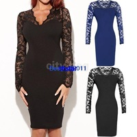2014 New Women Celeb Bodycon Sexy Ladies Long Sleeve Floral Lace Evening Party Dress plus sizes