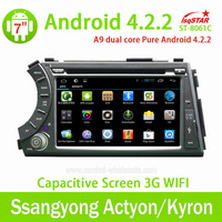 Capacitive Android 4.2 dvd automotivo for Ssangyong Kyron with dual core radio bluetooth shutdown delay 8G RAM OBD 3g wifi hot