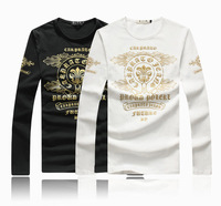 New 2014 Fashion Autunm Winter Printed Long Sleeve T Shirts Men Plus Size M 3XL 4XL 5XL 6XL Slim Fit Fat Men's Clothing Retail