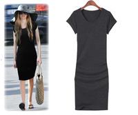 Vestido De Festa Women Direct Selling Empire None Casual Dress 2014 New Brand Girl Fashion Modal Cotton Short Sleeve Long Tee