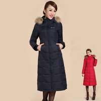 2014 New Arrive Women Winter Jacket With Fur Collar Long Slim Thick Fashion Grey Duck Down Parkas Free Shipping KIKEY E1513