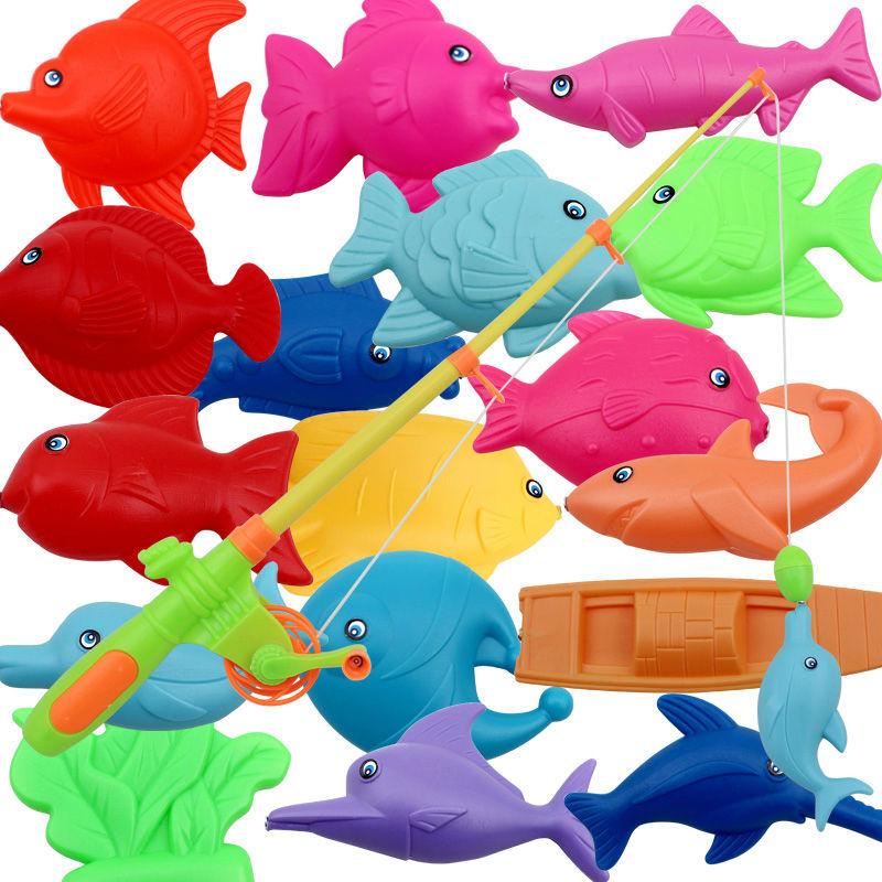 brinquedos meninas sea water 1Set Children Child Magnetic Fishing Game Bathing Toy Set Baby Laoyu Toy Gift 1 Rod 17 Fish(China (Mainland))