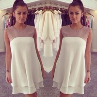 2014 New Summer Women sleeveless patchwork Chiffon dress White cute vestidos Free Shipping